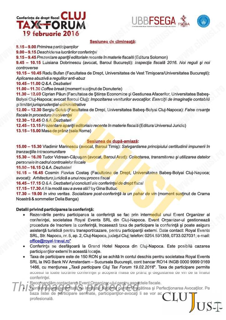 Cluj Tax Forum 2016 - Program