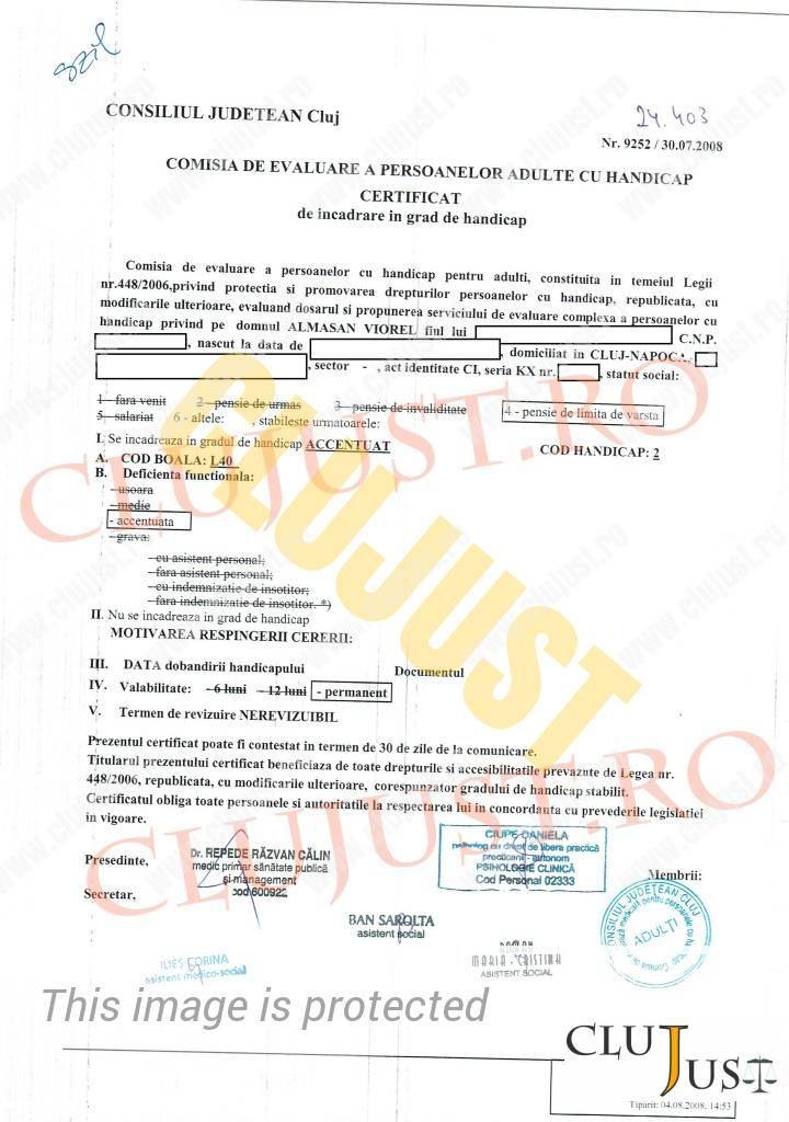 Certificatul de încadrare în grad de handicap