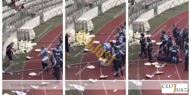 Suporterul care a lovit cu scaunul un jandarm pe Cluj Arena a fost condamnat la 7 ani și 6 luni închisoare
