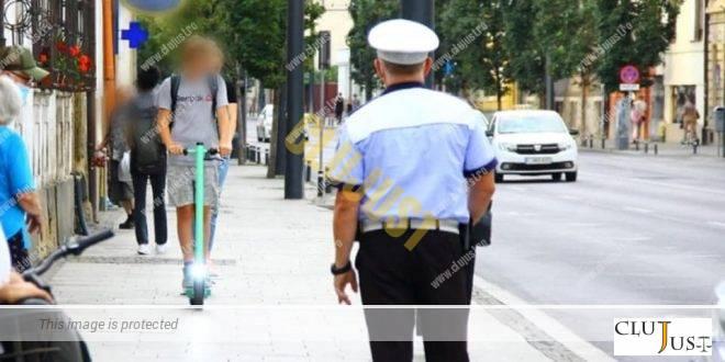 Polițiștii din Cluj-Napoca au depistat o tânără pe trotinetă cu o alcoolemie de dosar penal
