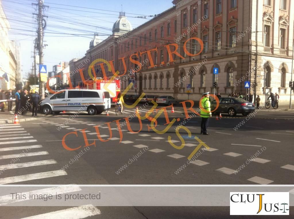 duba de politie lovita accident CLUJUST (4)