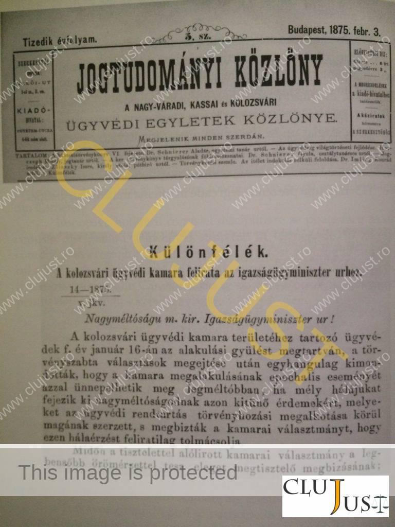 Scrisoarea avocaților clujeni din ianuarie 1875