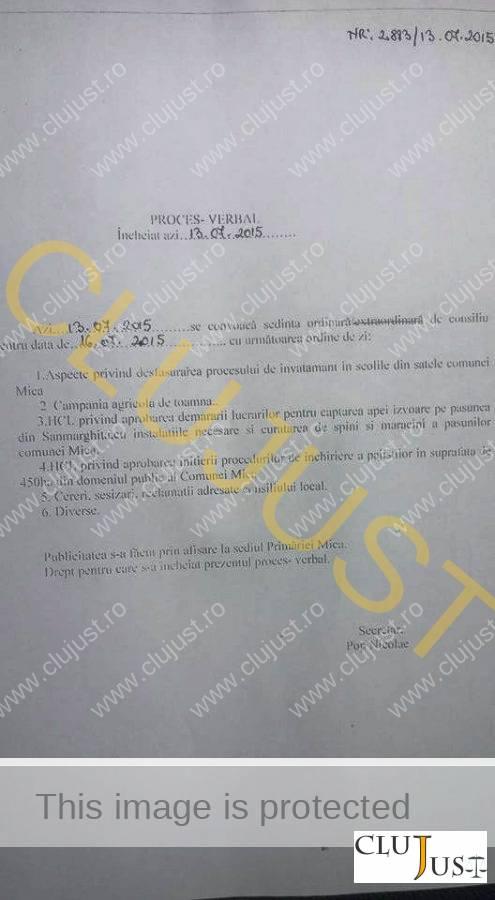 PV sedinta ordinara C.L. Mica