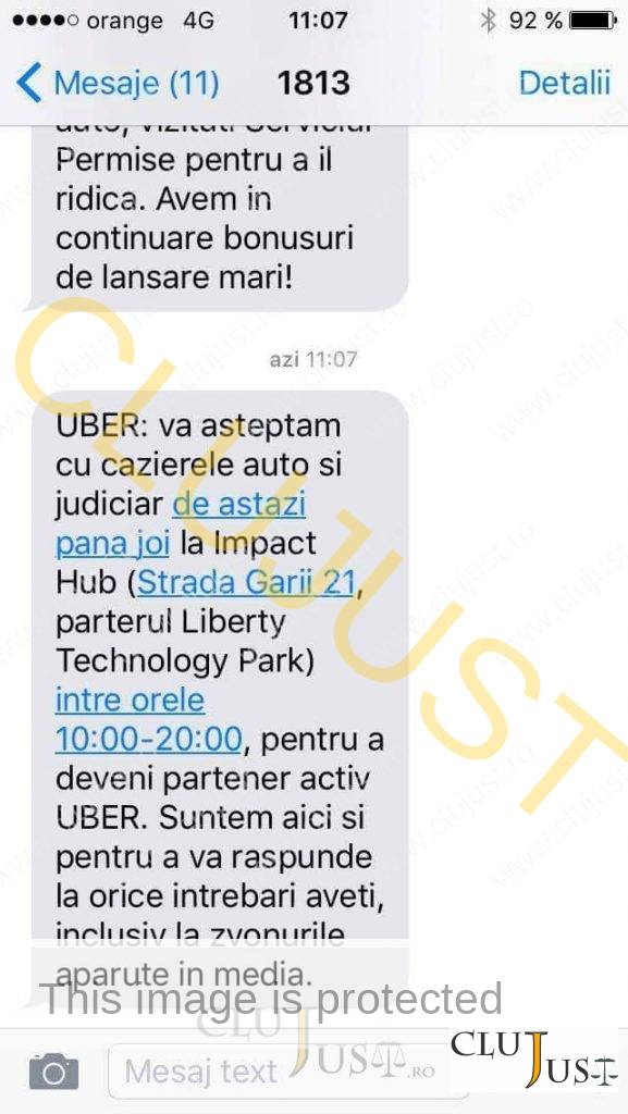 mesaj uber